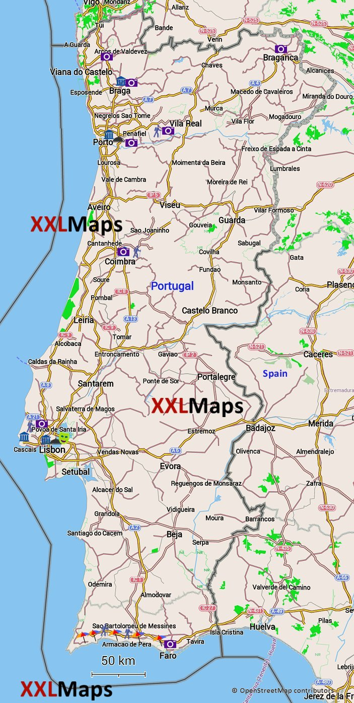 download mapa portugal Tourist map of Portugal   free download for smartphones, tablets  download mapa portugal