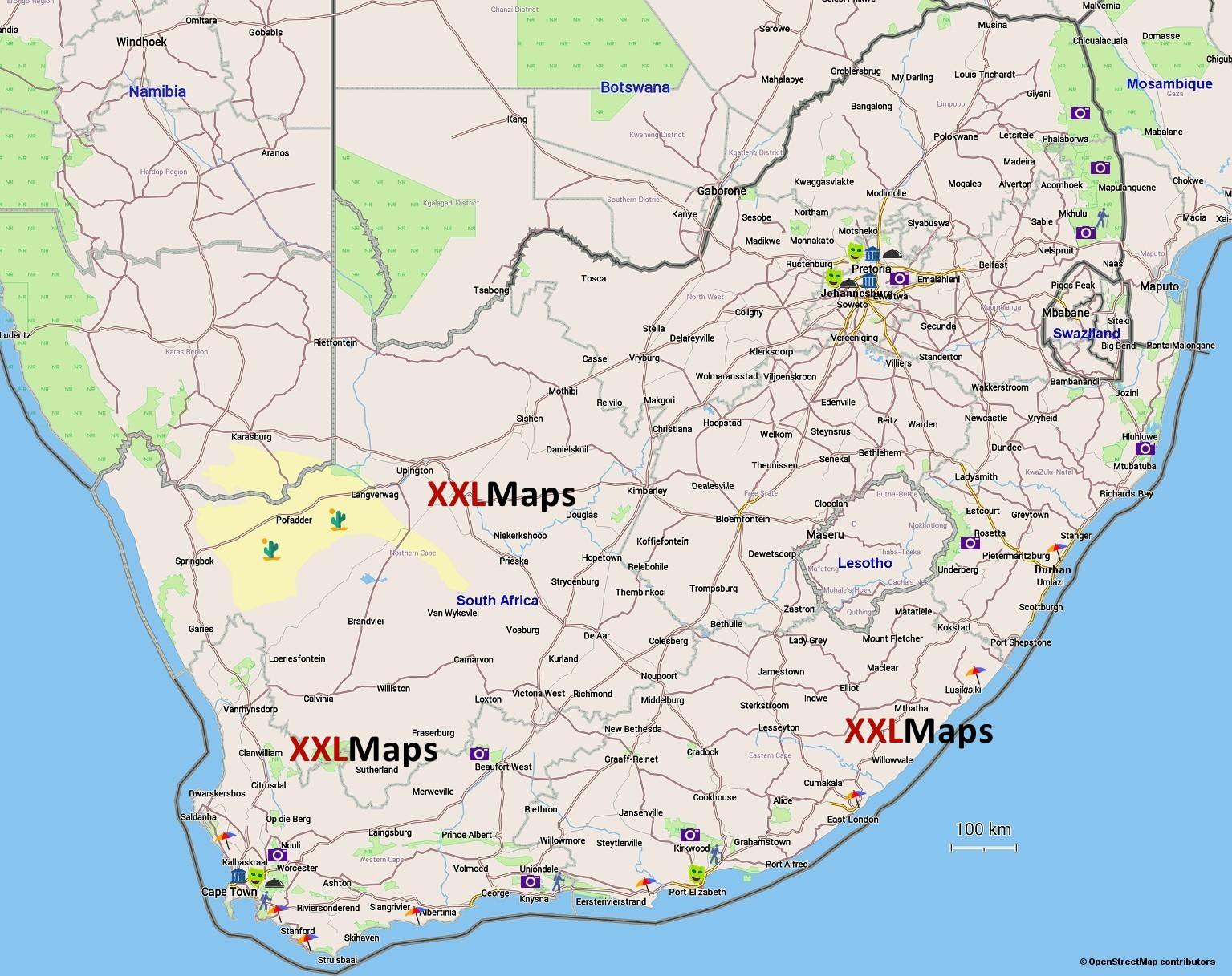 Tourist map of South Africa