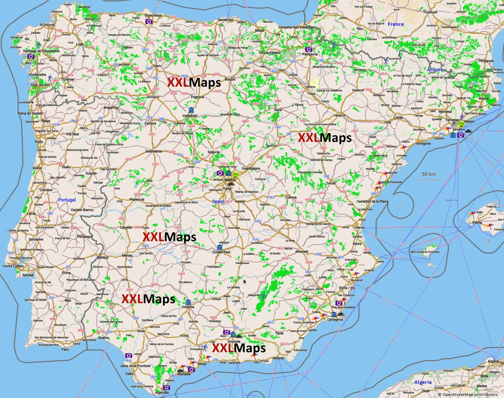 mapa espanha serra nevada Tourist map of Spain   free download for smartphones, tablets and  mapa espanha serra nevada