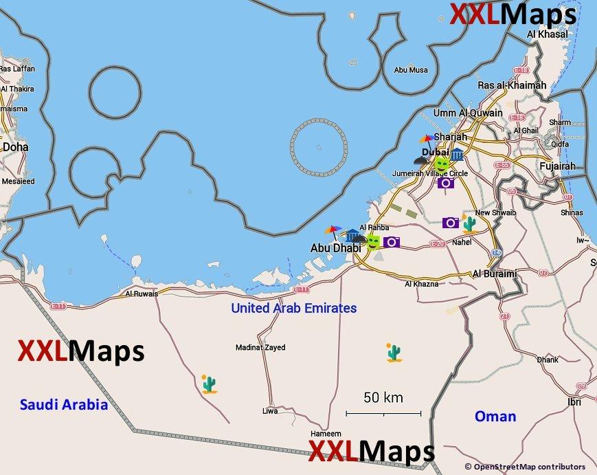 Turisticka Mapa Spojene Arabske Emiraty Zadarmo Na Stiahnutie