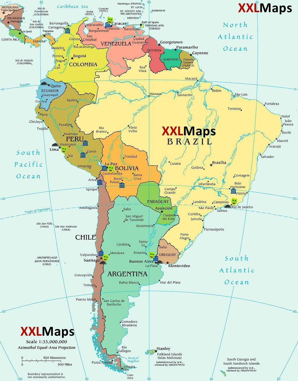 Politicka Mapa Jizni Amerika Zdarma Ke Stazeni Pro Smartphony